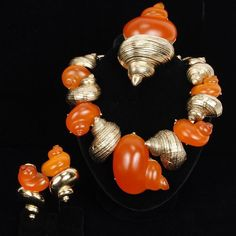 <b>Christian Dior Vintage Couture 3pc. Parure; Orange Lucite and Gold-Tone Shell Necklace, Pin, & Clip on Earrings</b> 16""