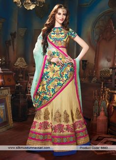 Appealing Cream Colour And Khaadi Cotton Designer Lehenga