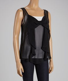 Look at this Black Bow Sleeveless Top - Women on #zulily today!