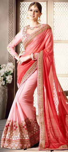 190902: Pink and Majenta color family Embroidered Sarees, Party Wear Sarees with matching unstitched blouse.