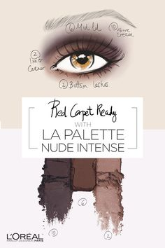 Glam eyes with La Palette Nude Intense.  10 shades that range from light to dark to flatter skin tone in one of three shadow finishes: shimmery satin, buttery matte & lustrous sheen.