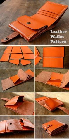 Free Bag Sewing Patterns & Tutorials Leather Wallet Tutorial ~ How to sew free tutorial for beginners. Ideas for sewing projects. Sewing Projects For Beginners, Sewing Tutorials, Sewing Hacks, Sewing Tips, Sewing Patterns Free, Free Sewing, Free Pattern, Crea Cuir, Bag Sewing