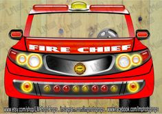 Large Fire Chief Car - Fireman PhotoBooth, Wedding Prop, Fire Chief Photo Booth, Fireman Party DIY Instant Download PRINTABLE, Firefighter by LMPhotoProps on Etsy
