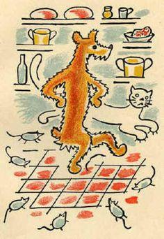 Illustration Josef Čapek Printmaking, Illustration Children, Kids Rugs, Children Books, Drawings, Orange, Grey, Cats, Dibujo