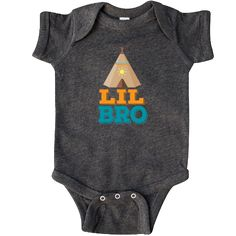 Cute little brother Infant Creeper gift outfit with native teepee and Lil Bro slogan. $24.99 www.homewiseshopperkids.com