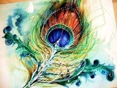peacock feather watercolor. absolutely gorgeous. I wish I could watercolor like this.
