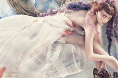 British beauty Karen Elson looks truly mystical in this whimsical watercolor editorial shot by famed photographer Craig McDean.