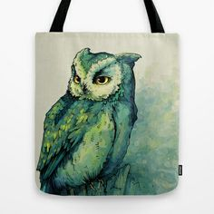 Green Owl Tote Bag by Teagan White - $22.00