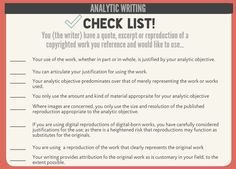 Use images to support your analytic writing, a checklist for #fairuse #writing #art #research  Please read and share the Code of Best Practices in Fair Use for the Visual Arts http://www.collegeart.org/pdf/fair-use/best-practices-fair-use-visual-arts.pdf