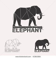 Elephant logo set. Elephant geometric lines silhouette isolated on white background vintage vector design element illustration set