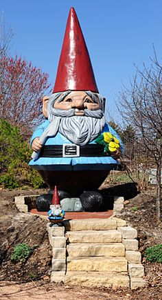 Reiman Gardens gnome (aka giant, giant gnome with some sort of knife or gardening implement)