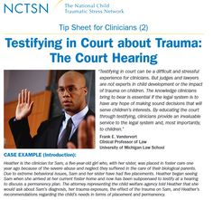 Testifying in Court about Trauma: The Court Hearing