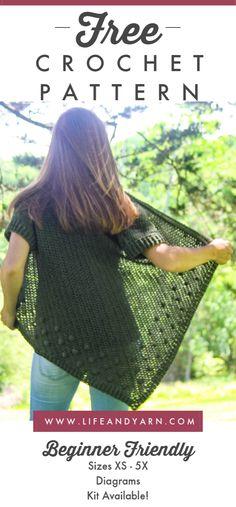 Olivia Cardigan - Light - Free Crochet Pattern, DIY and Crafts, Free Easy Beginner Friendly Crochet Cardigan Pattern! Crochet Pattern Free, Crochet Cardigan Pattern, Crochet Jacket, Crochet Patterns, Sweater Patterns, Crochet Shirt, Crochet Saco, Diy Crochet, Crochet Wraps