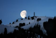 Chairlifts to the Moon. Moonset over #BaldMountain,  #Sun Valley, #Idaho | Visitidaho.org