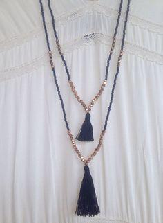 Double Strand Beaded Black Tassel Necklace ~ Gold Brass Nugget Beads ~ Seed Beads ~ Mala Boho Necklace ~ Bohemian Necklace ~ Boho Chic