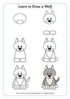 Learn to draw a wolf . Learn to draw a wolf Mais Cartoon Drawing Tutorial, Cartoon Drawings, Easy Drawings, Animal Drawings, Drawing Animals, Wolf Drawing Easy, Fox Drawing, Drawing For Kids, Draw Animals For Kids
