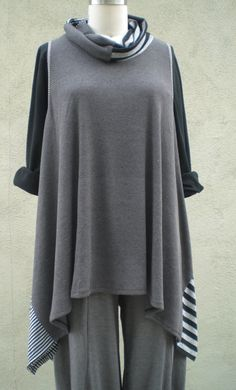 Unique Lagenlook Cowl Neck Ribbed Tank by by MyGreatShapes on Etsy, $59.00