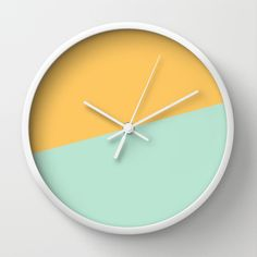 2COLOR | YELLOW + SEA FOAM Wall Clock by milalala
