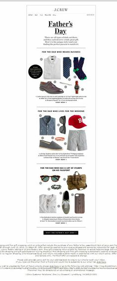 J. Crew: Father's Day email design