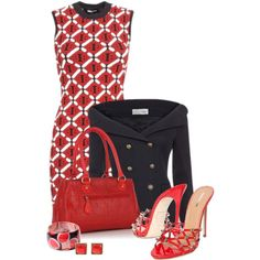 Office outfit: Red - Black by downtownblues on Polyvore featuring Caipora Jewellery and Dsquared2