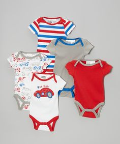 Look at this Peanut Buttons Red & Blue Bodysuit Set - Infant on #zulily today!