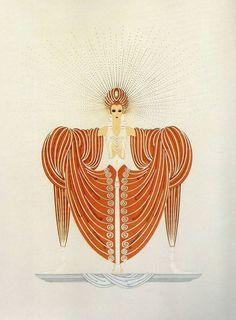 "Original Vintage ERTE ART DECO PRINT ""RADIANCE"" Fashion Book Plate #Vintage"
