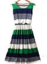 Green Round Neck Sleeveless Striped Mid Waist Dress $30.88  #SheInside #hipster #love #cute #fashion #style #vintage