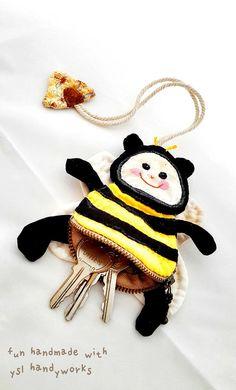 Cutie bee key purse. https://www.etsy.com/listing/191405780/applique-handmade-made-to-order-key