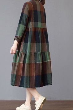 Material: Cotton Fabric: Fabric has no stretchSeason: Spring, Summer, AutumnType: DressPattern Type: PlaidSleeve Length: Long Sleeve Color: Red, GreenDresses Length: Mid-lengthStyle: Casual, LiterarySilhouette: DressSize: L Dress Length: 106 cm, Shoulder Breadth: 38 cm , Bust: 102 cm, Sleeve Length: 56 cm