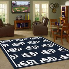 San Diego Padres MLB Repeat Logo Team Rug