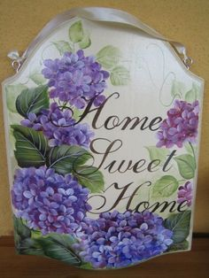 Home Sweet Hydrangea Home China Painting, Tole Painting, Painting On Wood, Painting & Drawing, Painted Slate, Painted Rocks, Hand Painted, Easy Paintings, Beautiful Paintings