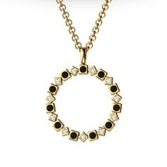 Pendant P-217 / Gold 750 / Diamonds / Black Diamonds - TAURUS Jewels