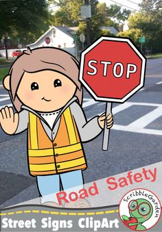 Clipart traffic guard colorfully directs traffic! Road Safety: Street Signs ClipArt by ScribbleGarden