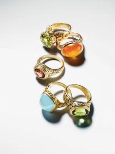 18-karat yellow gold and diamond rings with peridot and pink sapphire, mandarin garnet, pink tourmaline, milky aquamarine or green tourmaline.