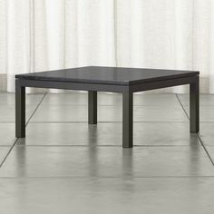Parsons Black Marble Top/ Dark Steel Base 36x36 Square Coffee Table - Crate and Barrel