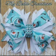 Frozen Olaf hair bow by My Bella Creations Check out this item in my Etsy shop https://www.etsy.com/listing/278944552/frozen-olaf-45-hair-bow