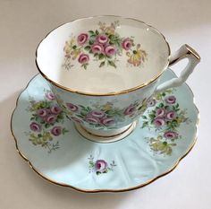 Vintage Aynsley china tea cup and saucer, made in England. It is in good condition, no chips, cracks or crazing. Please Note: The items I sell are not new, they are vintage or antiques, it goes without saying that there maybe some imperfections which I will try my best to point