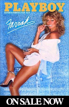 Farrah Fawcett Sexy Playboy Cover On Sale Collectible Stand-Up Display - TV Memorabilia Movies Charlie's Angels Poster Retro 1970's kiss76