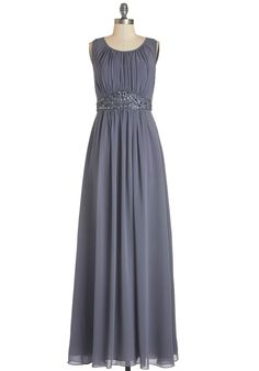 Sweep Into the Room Dress. An audible gasp seems to echo in the room as you sashay into the gala in this slate chiffon gown!