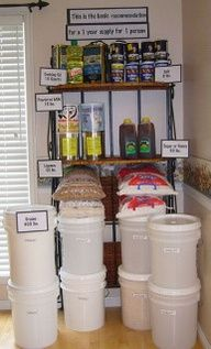 bulk food storage -- one year supply of the basics. One year of food storage. She breaks it down to just basics, then gives you a list of what you can make with it. Emergency Food, Survival Food, Survival Prepping, Emergency Supplies, Homestead Survival, Emergency Kits, Emergency Planning, Survival Skills, Prepper Food