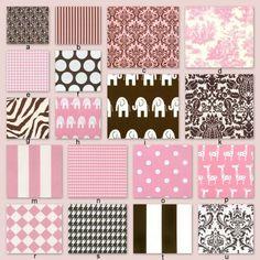 Custom Crib Bedding YOU DESIGN- Pink and Chocolate Brown. $238.00, via Etsy.