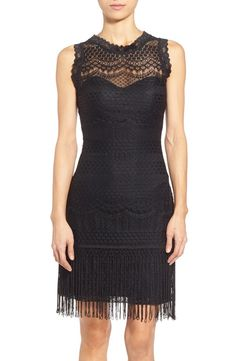 Lavish lace textured and a swishy, fringe-trimmed hem upgrade a sophisticated LBD spiced up a with a sheer illusion yoke and slinky, curve-skimming fit.@nordstrom