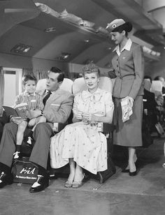 Lucy, Ricky and lil' Ricky get ready for take off on Pan Am
