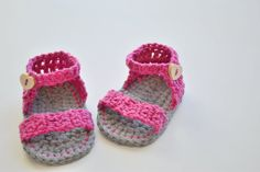 Crochet Baby Booties  Pink Flower Sandals  by CrobyPatterns, $4.99