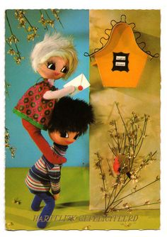 Vintage doll postcard. Doll couple posting a by bluumievintage you know they're walking around when you're not looking