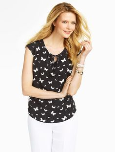 Talbots - Butterfly-Print Shirt Blouse | Blouses and Shirts | Petites - love the cap sleeve and neckline