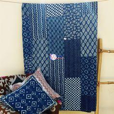 Indigo Patch Work Kantha Bed Sheet In  Dabu print