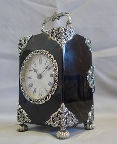 Antique English silver mounted & tortoiseshell carriage clock