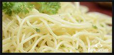 Garlic Pasta Sauce with Parmesan on Angel Hair Pasta