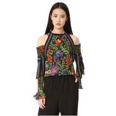 3.1 Phillip Lim Floral Cold Shoulder Blouse ($600) ❤ liked on Polyvore featuring tops, blouses, black multi, embroidery blouses, floral print tops, flower print blouse, floral embroidered top and embroidered top